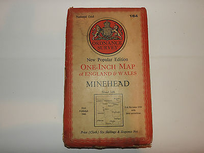 OS Map 164 MINEHEAD ON CLOTH  ONE INCH  ORDNANCE SURVEY MAP VINTAGE