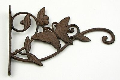 Rustic Country Style Rust Cast Iron Butterfly Plant Hanging Hook Hanger