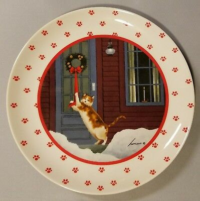 Lowell Herrero Christmas Cat Collector Plate - Made In Japan - 1988