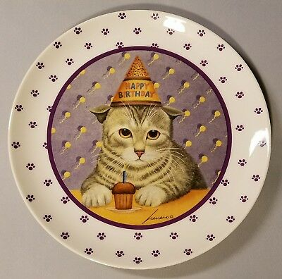 Lowell Herrero Happy Birthday Cupcake Cat Collector Plate - Made In Japan - 1989