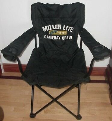 NEW Miller Lite Canvas Lawn Chair w/ Dual Drink Holders NIP- LOCAL NYC Pick Up