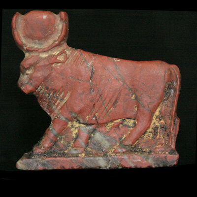 Ptolemaic red jasper inlay in the form of an Apis bull, 332-30 B.C. Egypt y2720