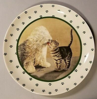 Lowell Herrero Dog Licking Cat Kitten Collector Plate - Made In Japan - 1986