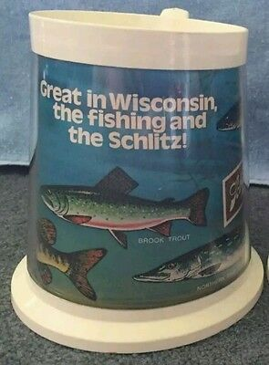 Vintage Schlitz Beer Flambeau Thermo Serv Style Mug Wisconsin Fish Fishing