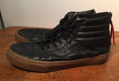 EUC VANS LEATHER Sk8 Hi Zip Black w Gum Sole - Men s US11.5 EU45 ... d2a675bec