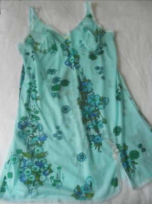 Nwot Vintage 1960's Collosus Melb Nylon Full Slip Aqua Blue Flower Power 16