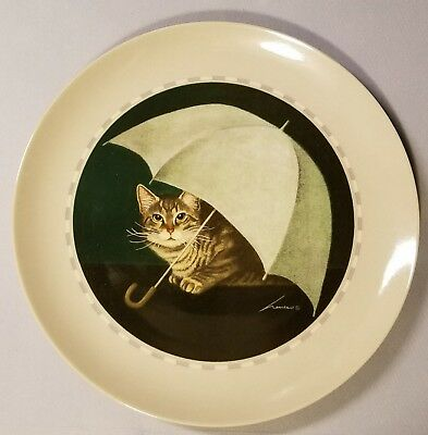 Herrero Collection Cat Under Umbrella Collector Plate - Made In Japan - 1991