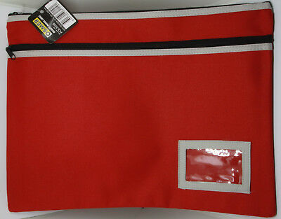Osmer Pencil Case Red 350 x 180 mm 2 Black zips with name insert LOT 11