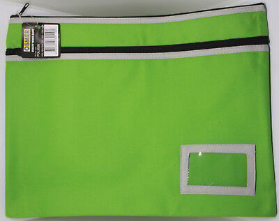 Osmer Pencil Case Large Green 350 x 260 mm 2 black zips with name insert LOT 18