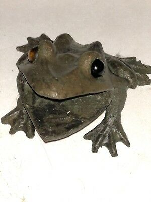 Antique Bronze Frog Glass marble eyes heavy hand cast sculpture fountain spitter