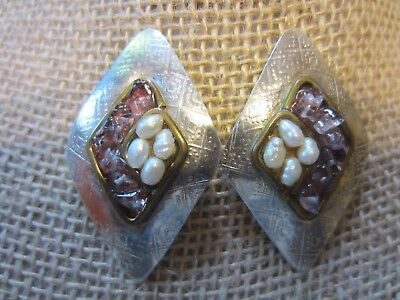 VTG Sterling Silver?Designer Signed Huge Pearl&Stone Stud Fancy Rhomb Earring14g