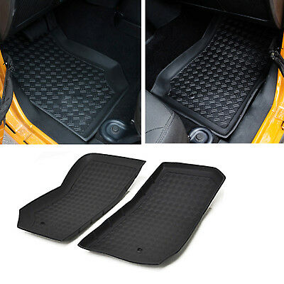 07-13 Jeep Wrangler JK Floor Mat Liner All Black 2PCS/Set Front