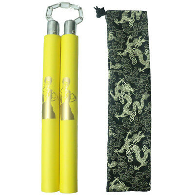 Bruce Lee Martial Arts Kung Fu EVA Yellow Foam Nunchucks Nunchakus Practice Toy