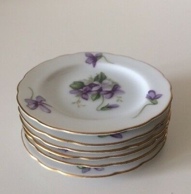Set Of 6 Vintage Butter Pats SPRING VIOLETS By ROSSETTI Lovely