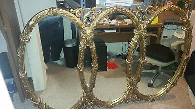 Antique Vintage Gold Color Large Triple Oval Wall Mirror