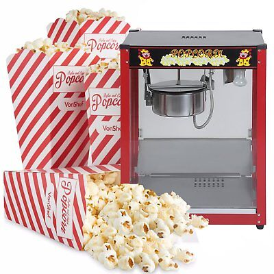 Pop Corn Maker Cooker Popper Machine Red 8 Oz - 1370W Commercial Stainless Steel
