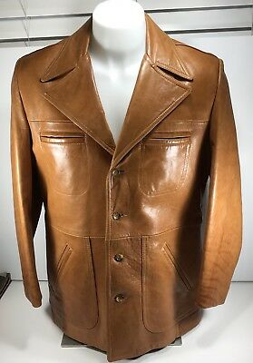 Vintage Grodins of California Men's Leather Jacket Size 42 And Garment Bag