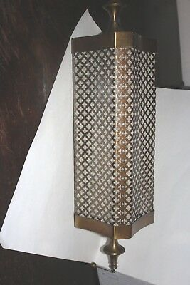 Mid Century Retro Swag Lamp Hanging Ceiling Light HONEYCOMB Brass 16' chain Pull