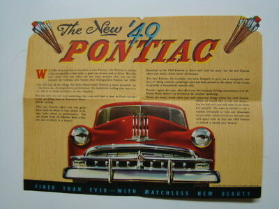 A Masterpiece Announcing First Showing of 1949 Pontiac Automobile Car Brochure