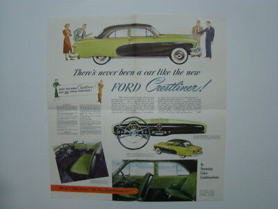 It's The Smart New Ford Crestliner Fold-Out Car Automobile Brochure 1950