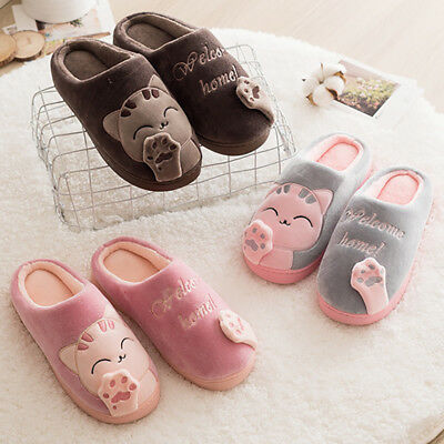 1 Pair Couple Floor Shoes Non-slip Warm Slippers Cartoon Cat Shoes Slippers