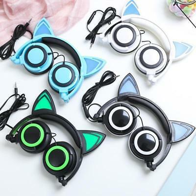 Foldable Flashing Cat Ear Headphones Glowing Gaming Headsets Earphones US SHIP