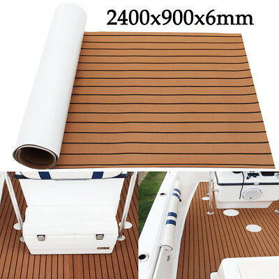 Marine Flooring Teak EVA Foam Boat Decking Sheet 240x90cm Self-Adhesive Brown