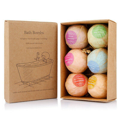 New Rainbow Fruit Aromatherapy Bubble Bath Bombs GIFT PACK OF 6 Bath Fizzies AE