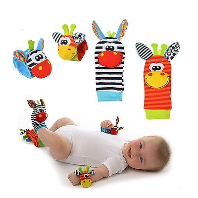Sozzy Baby Sensory Development Toys - PAIR OF Foot Finder Socks / Wrist Rattles