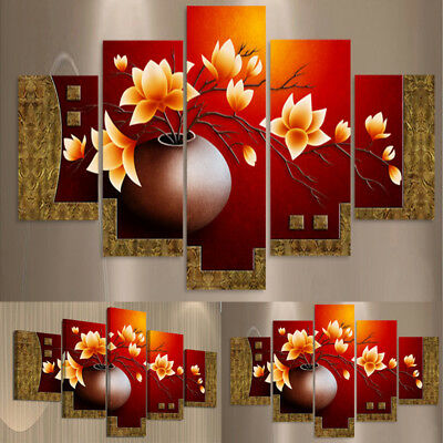 Modern Canvas Home Wall Decor Art Painting Picture Print Framed World Map 5pcs#U