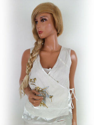 CLAIRE DK size 6 Bead blouse white wool embroidery
