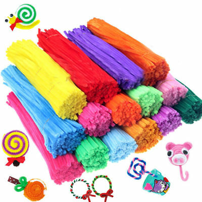 "100PCS Chenille Craft Stems Pipe Cleaners 30cm (12"")Long,6mm Wide-Kids Craft DIY"