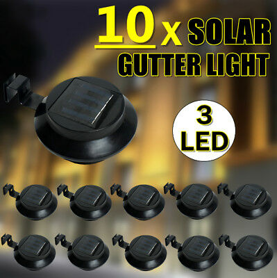 10x Solar Powered 3LED Fence Gutter Light Outdoor Garden Yard Wall Pathway BLACK