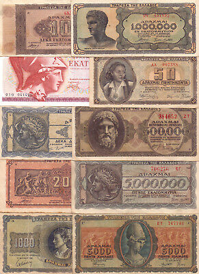 Greece  - 10 Different Greek Banknotes (Lot-2)