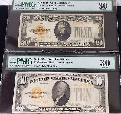 1928 $20 And $10 Gold Certificate. Both Graded VF 30 By PMG