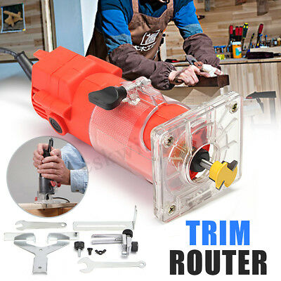 """220V Electric Hand Trimmer Router 6MM 1/4"""" Wood Laminator Molding Joinery Tool"""