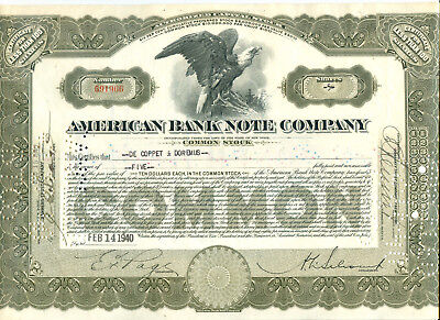 American Bank Note Company, New York 1940