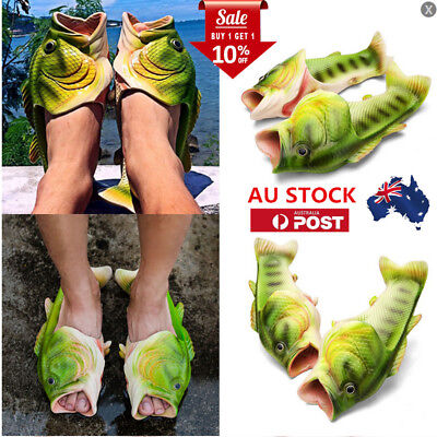 AU Unisex Fish Shower Slippers Sandals Flip Flops Men Women Casual Beach Shoes
