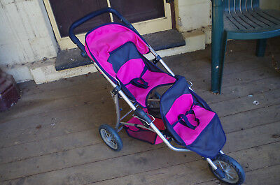 Mamas & Papas Double Decker Dolls Pram Pink and Navy Girls Toy Stroller