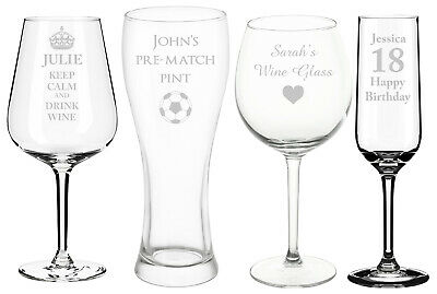 Personalised Engraved Champagne Flutes, Wine Glass, Pint Glass, Any Text / Image