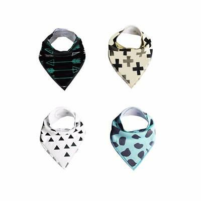4pcs Cotton Infant Kids Baby Feeding Saliva Towel Dribble Triangle Bandana Bibs