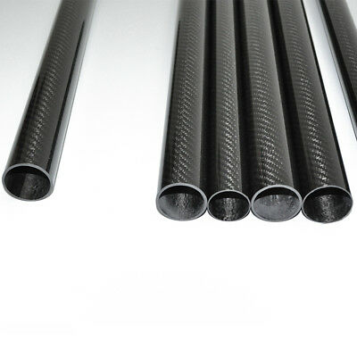 Carbon Fiber Tube 12mm*10mm*1000mm 3K Glossy surface Wrapped Roll (US 1PC)