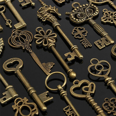Unique DIY 69pcs Antique Vintage Old Look Bronze Skeleton Keys Fancy Pendant@@