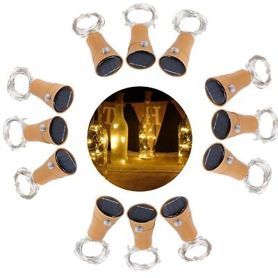 lot Solar Warm Wine Bottle Cork Shape Lights 10LED Night Fairy String Light Lamp