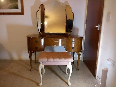 Vintage Kidney Shaped Dressing Table With 5 Drawers & Triple Mirror & Stool