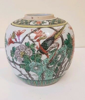 Unusual 19th 20th C Famille Verte Rose Chinese Ginger Jar Ovoid Vase Pot