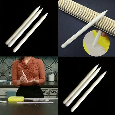 White Non-stick Fondant Roller Plastic Rolling Pin Cake Pastry Cook Baking Top·