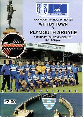 B16 Whitby Town v Plymouth Argyle 17/11/01 FA Cup 1st Round