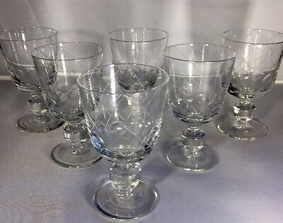 Victorian Or Earlier / Antique / Fine Crystal Etched Sherry / Port Glasses