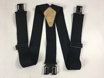 """PERRY Black Suspenders Made in the USA Mens Utility Leather Trim 2"""" Wide"""